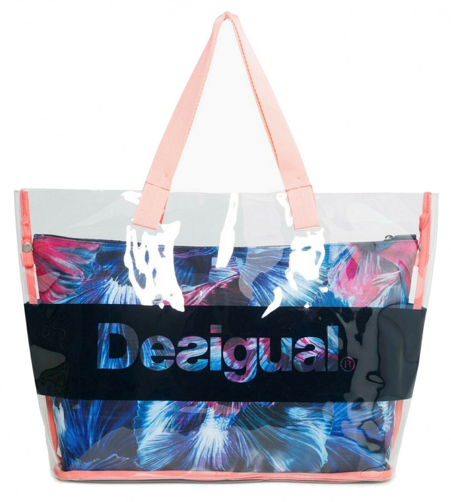 Desigual Atlantis Transparent Swim Shoulder Bag Sporttasche Petroleo bluee