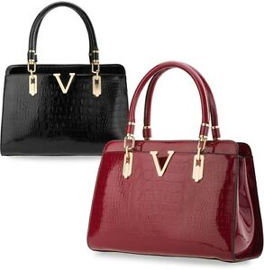 klassische-Damentasche-Bowlingbag-Schultertasche-lackierte-Handtasche