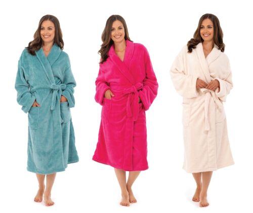 LUXURY WOMENS FULL LENGTH BATH ROBE DRESSING GOWN HOUSECOAT BELT LADIES S/M- M/L