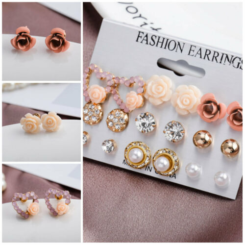 9 Paires//Set Fleurs Oreille Clous D/'Oreilles Cadeau Femme Fashion Party Jewelry Sets charme