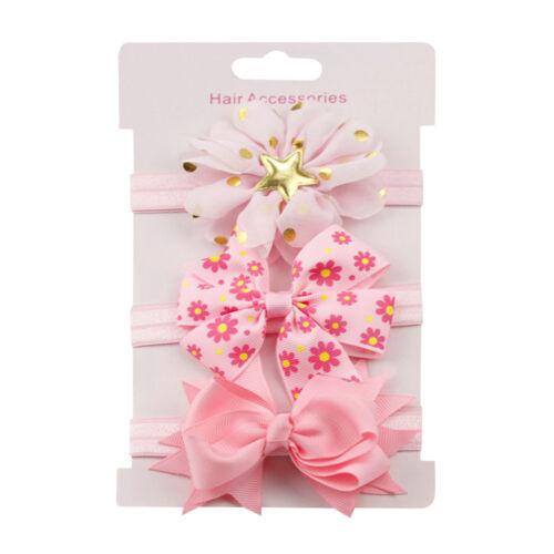 Pretty 3PCS Kids Elastic Floral Headband Hair Girls Baby Bowknot Hairband Set