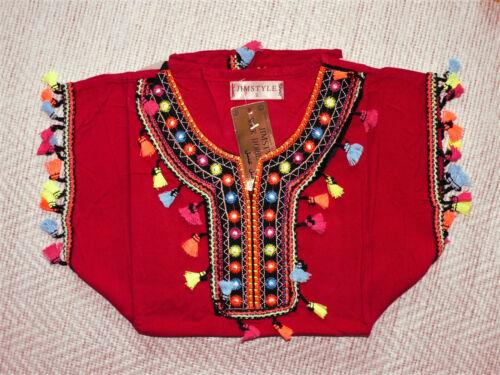 DJELLABA ABAYA pompon robe orientale ENFANT 2-12 ans PRINCESSE fille fluo bebe