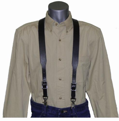 Premium Black Leather Suspenders with scissor snaps  trigger snaps Special