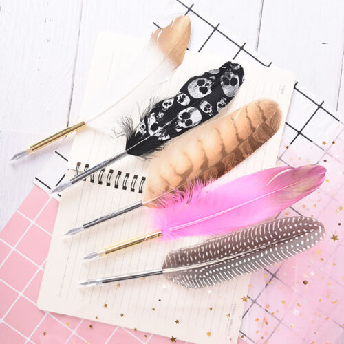 1Pc retro style ink feather quill ballpoint pen for office student  ularJC