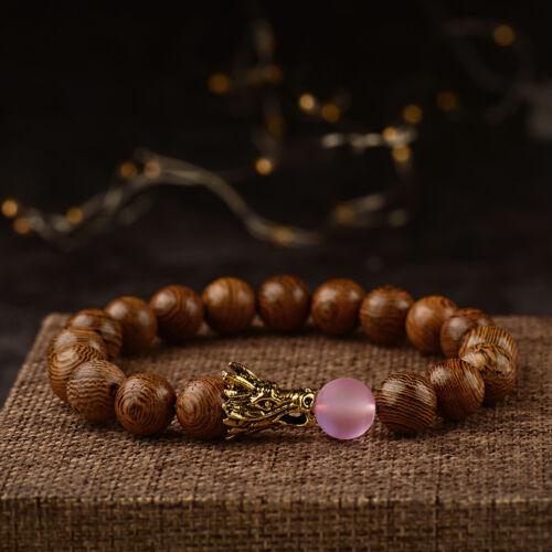 10MM Wood Moonstone Lava Dragon Bracelets Healing Balance Men/'s Women Bracelets