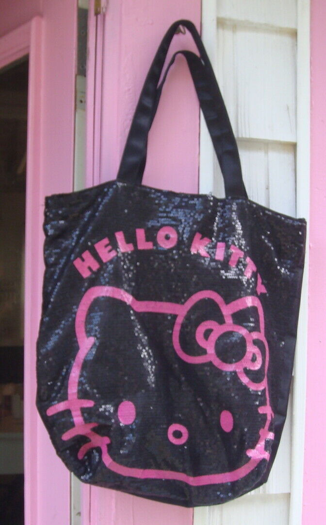 Hello Kitty Black Spangled Lined Tote Bag