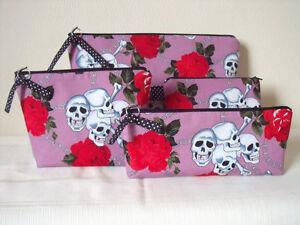 Pink-Skulls-amp-Roses-Pouches-Toiletries-Bag-Makeup-Bag-Pencil-Case-Coin-Purse