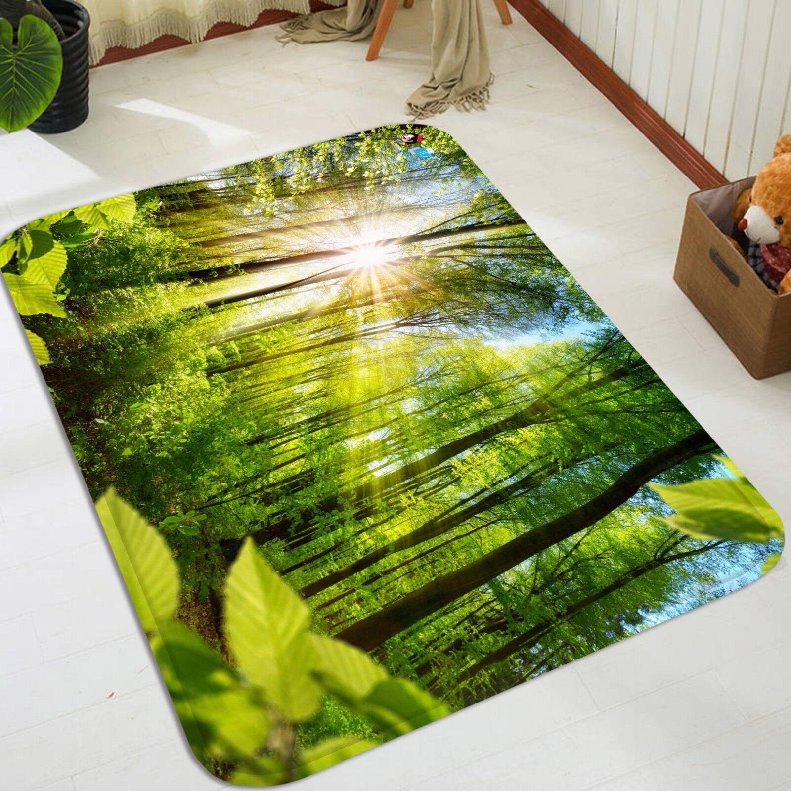 3D Soleil Arbres 1055 Étage Antidérapant Natte Élégant Tapis FR Summer