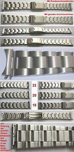 EDELSTAHLARMBAND-Faltschliesse-Breitenwahl-18-20-22-mm-Rundanschluss-amp-Gerader