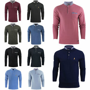 Mens-Long-Sleeve-Polo-Shirt-by-Brave-Soul-039-Hatter-039-Casual-Collared-Top-S-XL