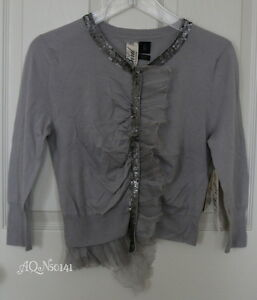 BIRD by JUICY COUTURE Cashmere Chiffon Gray Sequin Cardigan ...