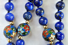 Antique Chinese Natural Lapis Lazuli, Cloisonne,14K Solid Gold Clasp and Beads