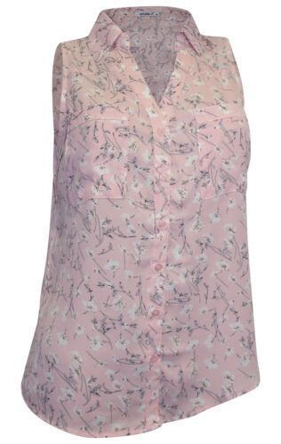 HAILYS Bluse Gr M 38 rosa grau wiß bedruckt ärmellos Blusentop Blümchen
