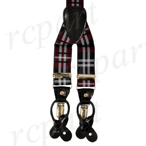 New Y back Men's Vesuvio Napoli elastic Suspenders Braces plaids burgundy black