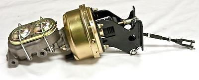 """Chevy Truck 7/"""" Dual Power Booster Bail Top Master Cylinder /& Bracket Kit CHROME"""