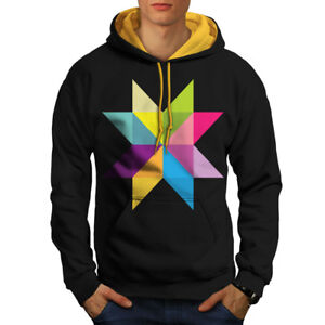 Hoodie gold Contrast Black Men Ornament New Star Hood q6atwtf