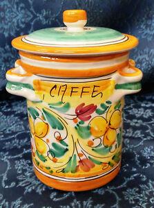BARATTOLO CAFFE' H.CM 16 DECORATO A MANO IN CERAMICA DI CALTAGIRONE