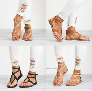 Womens-Ladies-Casual-Flats-Sandals-Ankle-Strappy-Open-Toe-Beach-Shoes-Size
