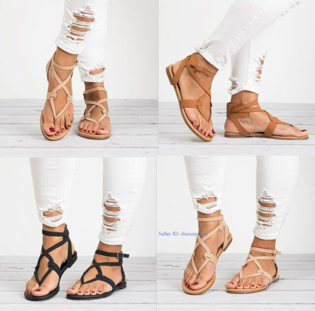 Womens Ladies Casual Flats Sandals Ankle Strappy Open Toe Beach Shoes Size