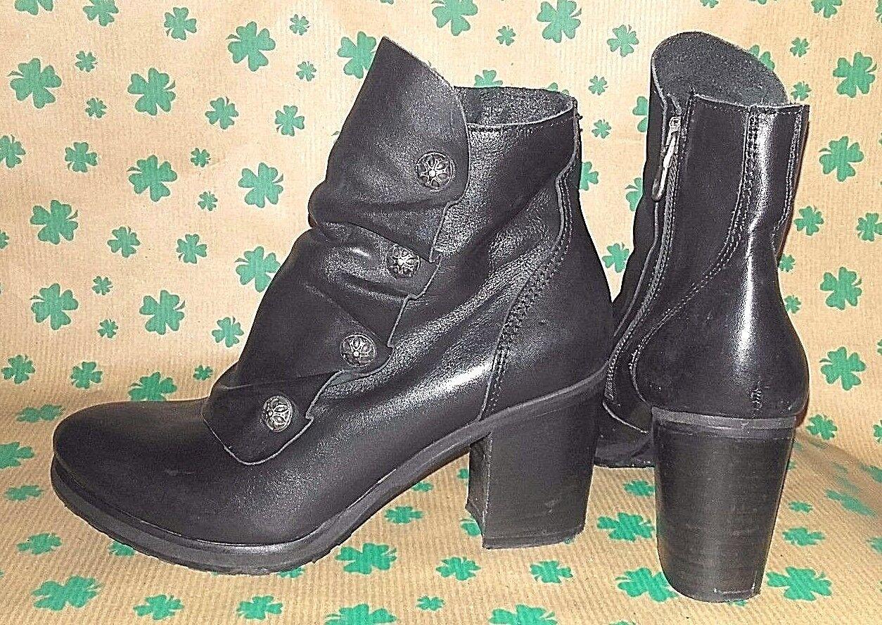 ILS Italia tolle Damen Echtleder Stiefelette Stiefel schwarz Rüschen Gr. 37