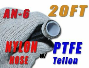 5-16-034-Black-Nylon-Hose-PTFE-AN-6-E85-Ethanol-Fuel-Oil-Water-20ft