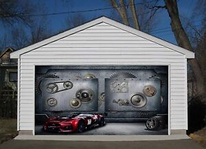 Exceptionnel Image Is Loading 3D Red Sports Car Garage Door Murals Wall