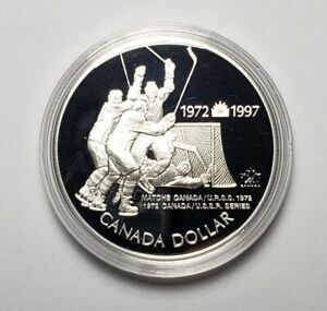 Canada 1997 Hockey .925 Sterling Silver $1.00 One Dollar Coin Proof