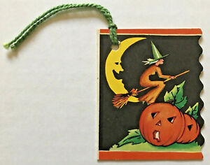 VINTAGE-1930-039-s-Halloween-Tally-card-invitation-decoration-WITCH-MOON-PUMPKINS