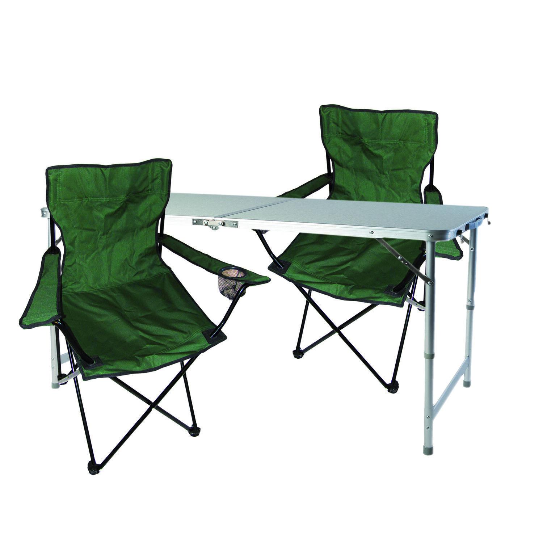 3-tlg. Campingmöbel Set grün Tisch höhenverstellbar Tragegriff Stühle Tasche