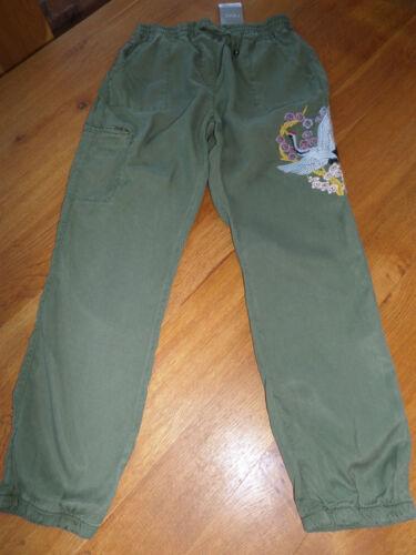 BNWT NEXT Girls Khaki Bird Embroidered Tencel Cuffed Hem Lightweight Trousers