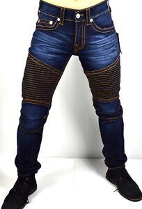 True-Religion-249-Men-039-s-Skinny-Moto-Red-Orange-Big-T-Jeans-101115