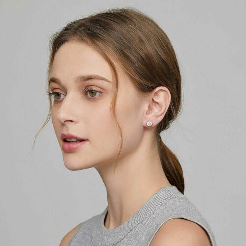 Sparkling CZ Crystal Bezel Girls Cartilage  Ear Piercing Round Cut Stud Earrings
