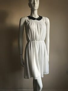 ZARA-TRF-White-Skater-Dress-With-Collar-SIZE-M