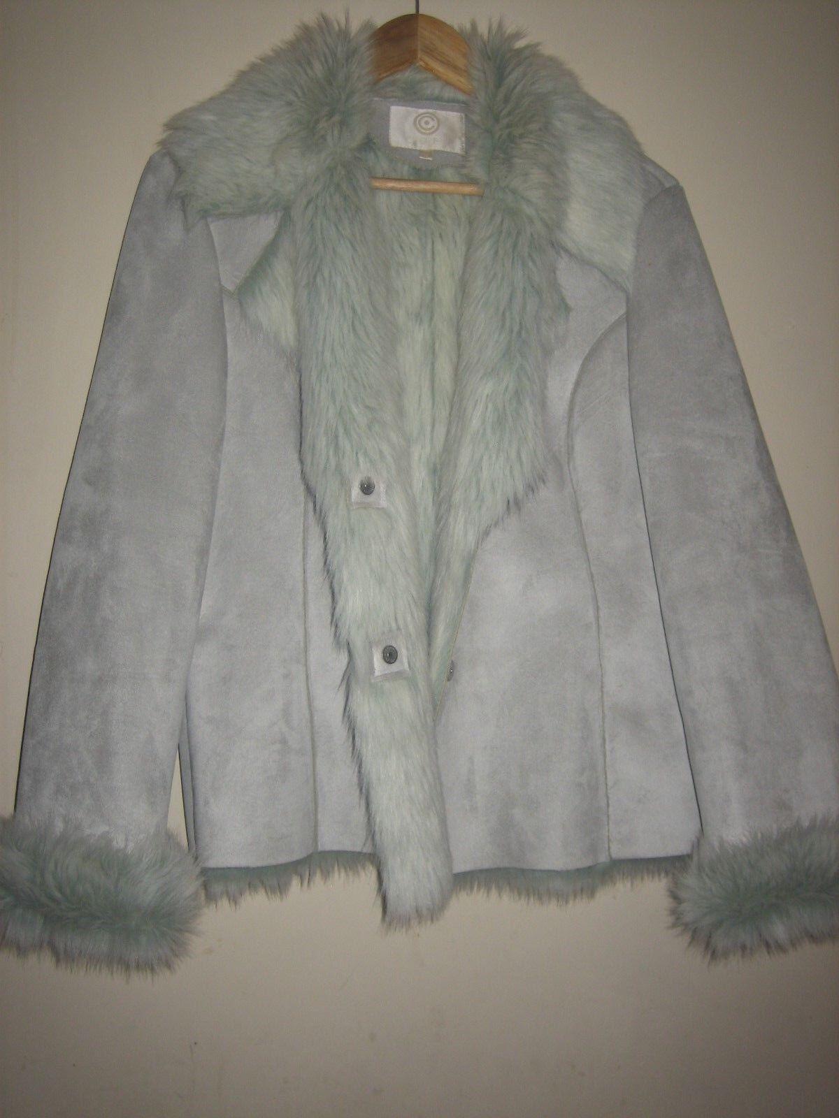 A PALE GREY blueE VINTAGE COFI SUEDE & FAUX FUR COAT SIZE 18  PIT-PIT APPROX 22