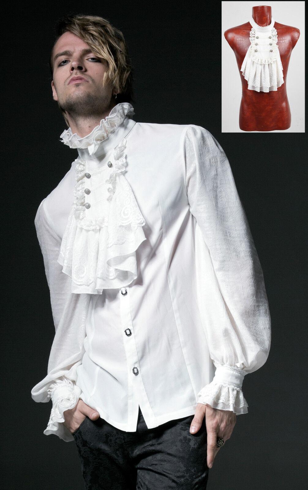 Chemise jabot baroque gothique dandy victorien bi-matière homme Punkrave Blanc