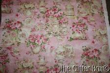 Tea For Two Fabric Sewing Material 2 Yds. Shabby Cottage Chic Pink Roses L1
