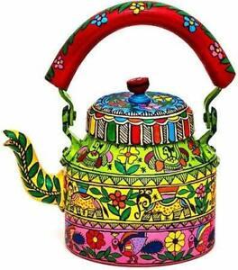 Hand-Painted-Kettle-Meenakari-Tea-Pot-Aluminum-Home-Decor-Tea-Coffee-Pot-1L-Gift