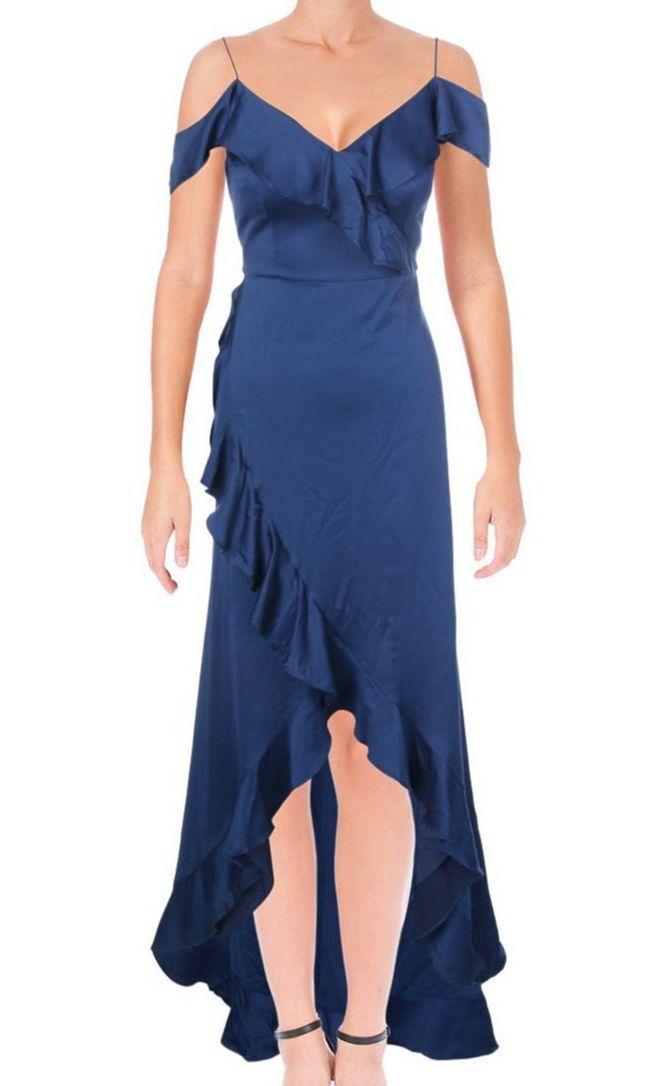 375 AIDAN MATTOX WOMENS blueE OFF-SHOULDER RUFFLED SHEATH GOWN DRESS SIZE 4