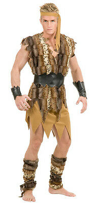 Cool Caveman Prehistoric Cave Man Barbarian Fancy Dress Halloween Adult Costume