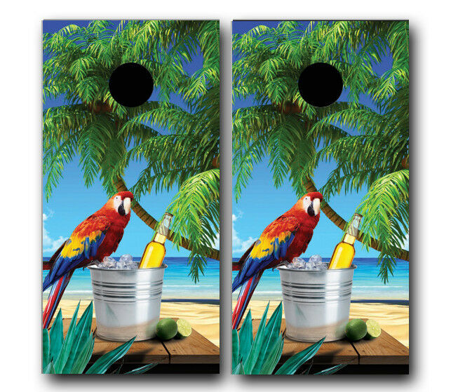 TROPICAL BEACH W   PARred SCENE CORNHOLE WRAP WRAPS SET Vinyl Board DECAL  great selection & quick delivery