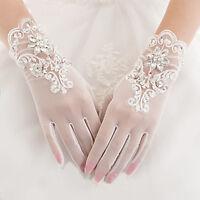 Elegant Damen Kurz Creme Brauthandschuhe Hochzeit Party Braut-Accessoires NEU