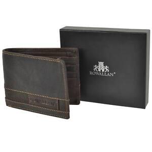 Para-Hombre-Bi-Fold-Buffalo-Cuero-Billetera-Por-Rowallan-Panama-Elegante-Resistente-Caja-De-Regalo