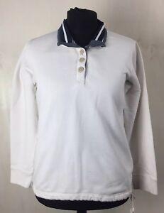 Seasalt-White-Organic-Cotton-Jersey-Sweat-Shirt-UK-14-Collar-Jumper-Pull-Over