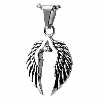 Antique Silver Angel Wing Necklace Valkyrie Wings Protection Necklace Boho Necklace Ladies Valentine/'s Gift Heart Norse Jewelry