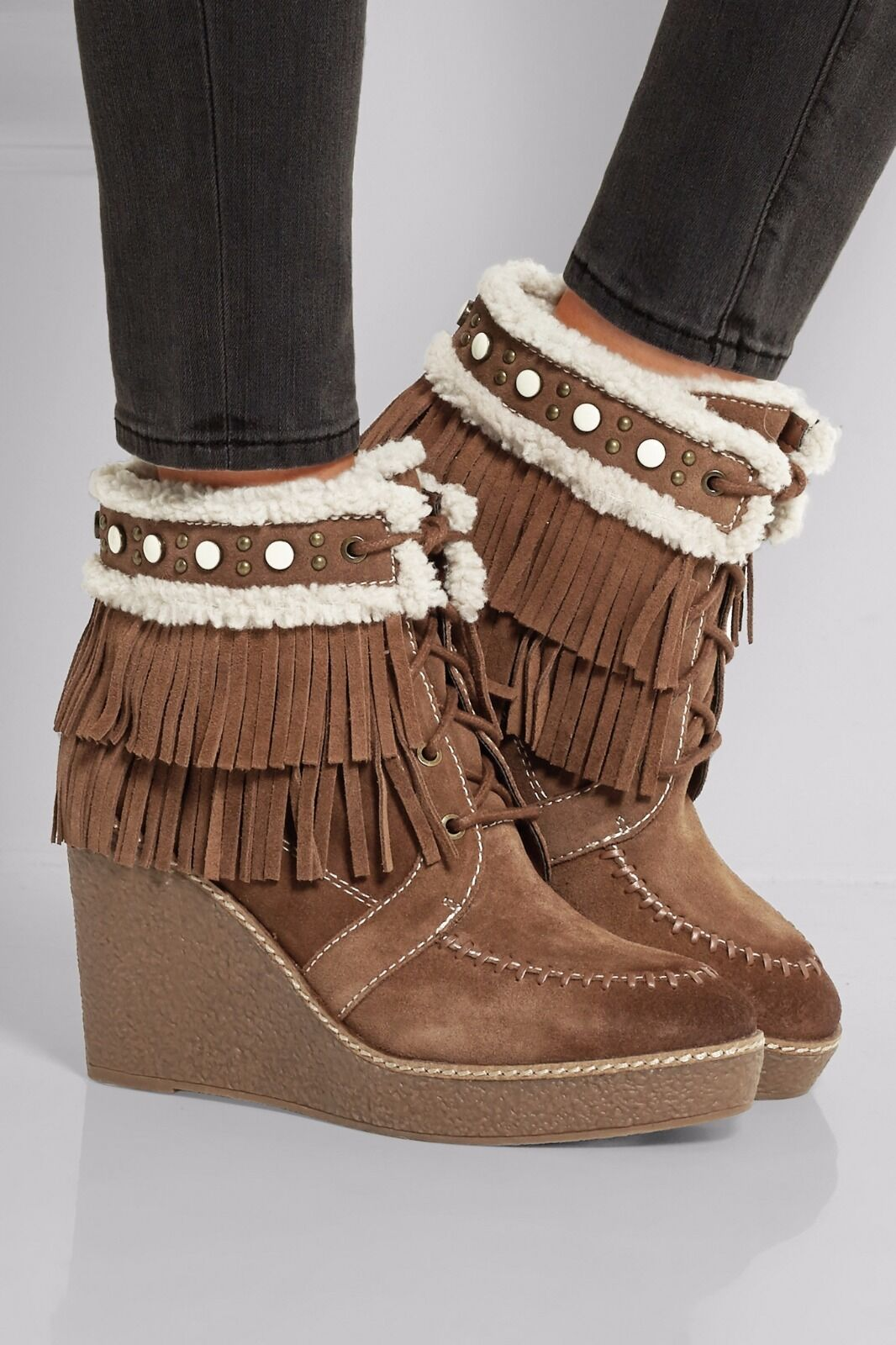 New Sam Edelman Kemper Faux Shearling-lined Fringed 4.5 Suede Wedge Boot 4.5 Fringed  150 cb381a
