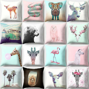 Animal Giraffes Goat Throw Pillow Case Waist Cushion Cover Home Decor Novelty