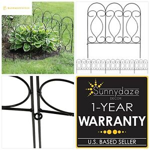 Details About Sunnydaze 5 Piece Traditional Border Fence Set, Decorative  Metal Garden Fencing,