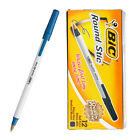 BIC Round Stic 1.0 mm med/moy ball point pen 1 BOX 12 PCS - BLUE