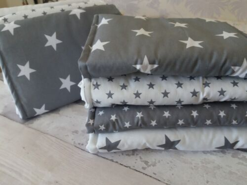 Grey and white star cot bar bumper wraps  free p/&p