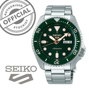 Seiko-5-Sports-Green-Dial-Steel-Bracelet-Automatic-Mens-Watch-SRPD63K1-RRP-260